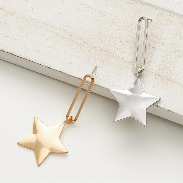 """Metal Earrings Featuring Star Pendant and Matte Finish.   - Approximately 2.5"""" in Length  - Star Pendant is Approximately 1"""" in Diameter"""