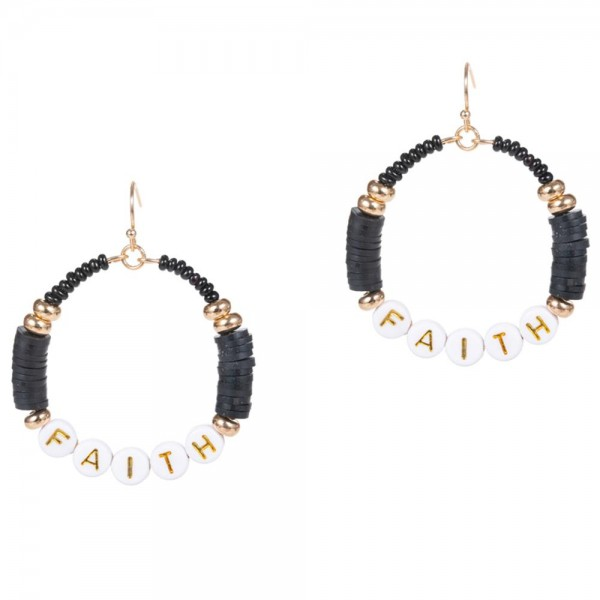 """Drop Earrings Featuring Heishi Bead Accents and Letter Beads That Say """"Faith"""".   - Approximately 2"""" Long"""