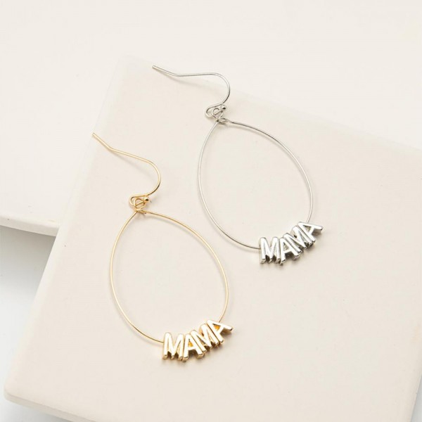 """Teardrop Earrings Featuring Metal Letter Beads that Say """"Mama"""".   - Approximately 2"""" Long"""