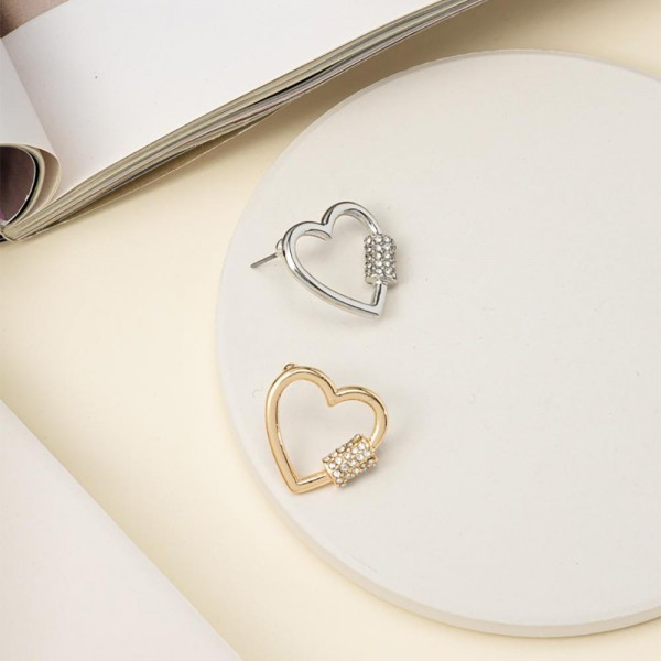"Metal Heart Post Earrings Featuring Pave Cubic Zirconia Accents.   - Approximately 1"" in Diameter"