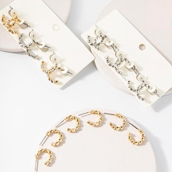 """Set of Three Beaded Metal Hoop Earrings.   - Approximately 1/2"""" in Diameter"""