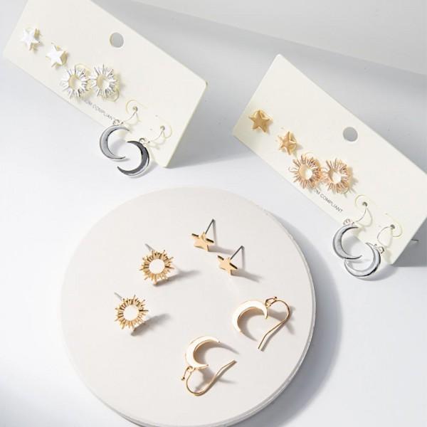"Set of Three Celestial Themed Metal Earrings.  - Star Studs Measure Approximately 5mm in Diameter  - Moon Drop Earrings are Approximately 1"" in Length"