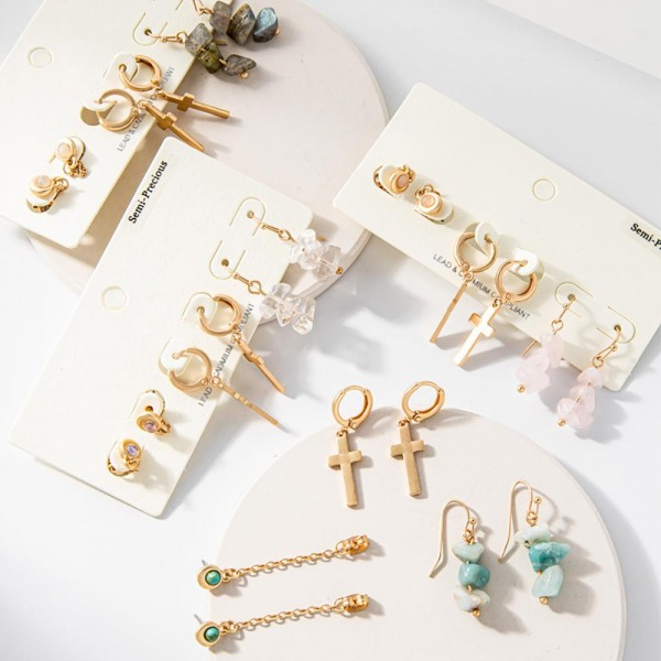 """Set of Three Pairs of Metal Earrings with Semi Precious Natural Stone Accents.   -  Earrings are Approximately 1"""" in Length"""