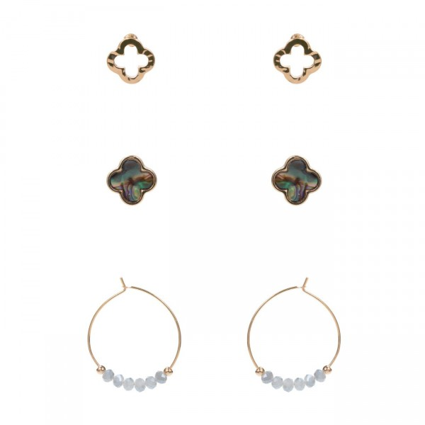 """Set of Three Pairs of Metal Earrings.   - Studs Measure Approximately 5mm in Diameter  - Beaded Hoop Earrings are Approximately 1"""" in Diameter"""