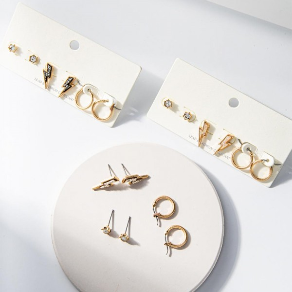 """Set of Three Pairs of Gold Earrings.   - CZ Studs Approximately 3mm in Diameter - Lightning Bolt Druzy Studs Approximately 1/2"""" Long - Gold Huggie Hoop Earrings Approximately 1/2"""" in Diameter"""