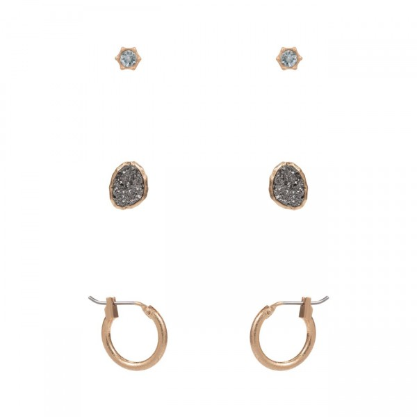 """Set of Three Pairs of Gold Earrings.   - CZ Studs Approximately 3mm in Diameter - Druzy Studs Approximately 1/2"""" Long - Gold Huggie Hoop Earrings Approximately 1/2"""" in Diameter"""
