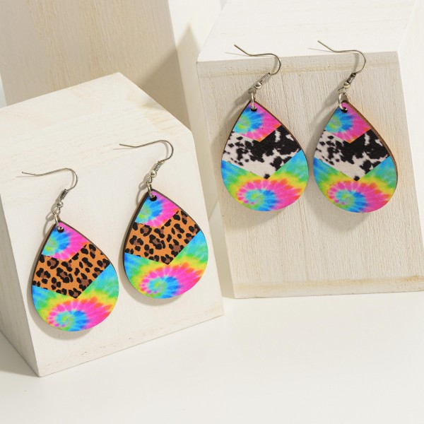 """Printed Wooden Teardrop Earring -Silver Toned -French Wire -2.5"""" in length"""