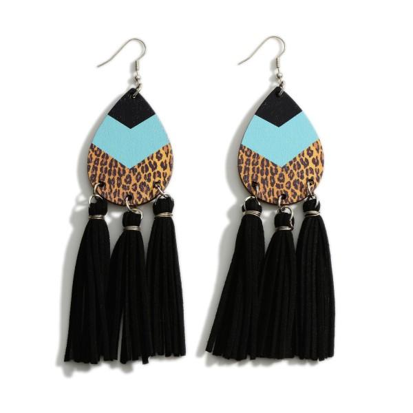 """Teardrop and Leather Tassel Earrings -Wooden teardrop -French Wire -Silver Toned -5"""" in length"""
