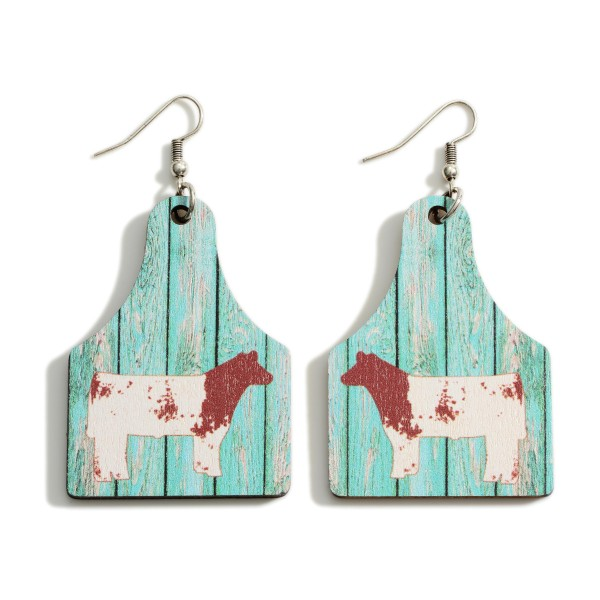 """Cattle Tag Wooden Earring -Silver toned -French Wire -2.75"""" in length"""
