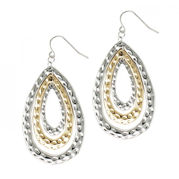 """Metal Tear Drop Earrings Featuring Hammered Texture.   - Approximately 3"""" Long"""