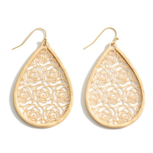 "Metal Teardrop Earrings Featuring Floral Filigree Pattern.   - Approximately 2.5"" Long"