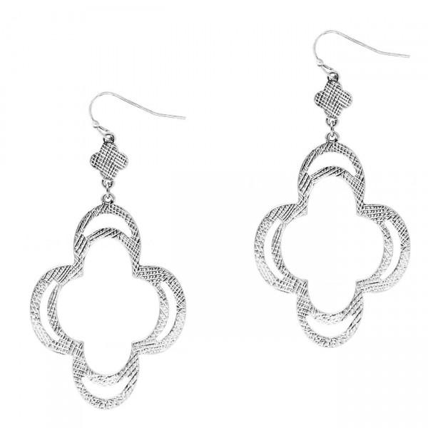 "Clover-Shaped Metal Drop Earrings.   - Approximately 2.5"" Long"