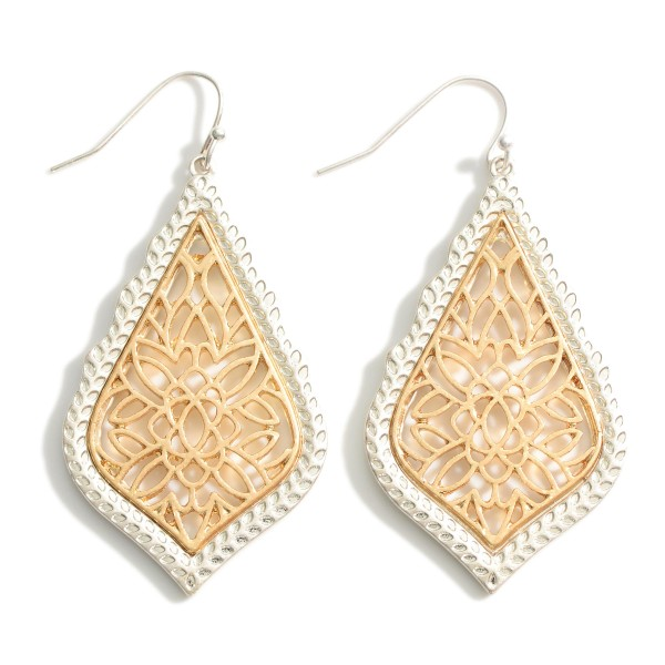"""Metal Drop Earrings Featuring Filigree Accents.   - Approximately 2.5"""" Long"""