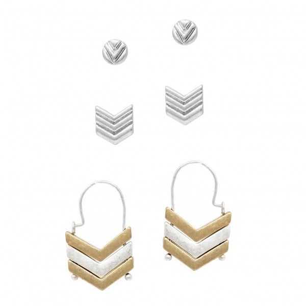 "Set of Three Pairs of Metal Earrings.   - Circular Stud Earrings Approximately 1/4"" in Diameter - Chevron Stud Earrings Approximately 1/2"" in Diameter - Threader Chevron Earrings Approximately 1 1/4"" in Diameter"