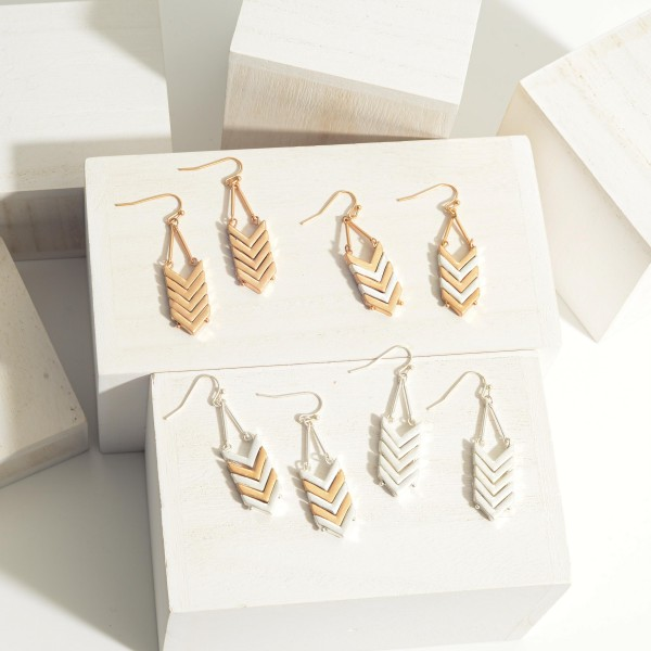"""Metal Drop Earrings Featuring Chevron-Shaped Accents.   - Approximately 2"""" Long"""