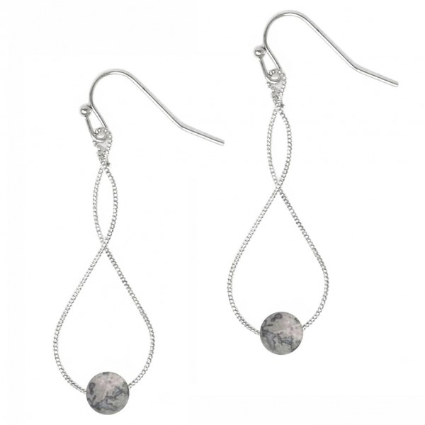 """Corkscrew Drop Earrings Featuring Natural Stone Accents.   - Approximately 2"""" Long"""