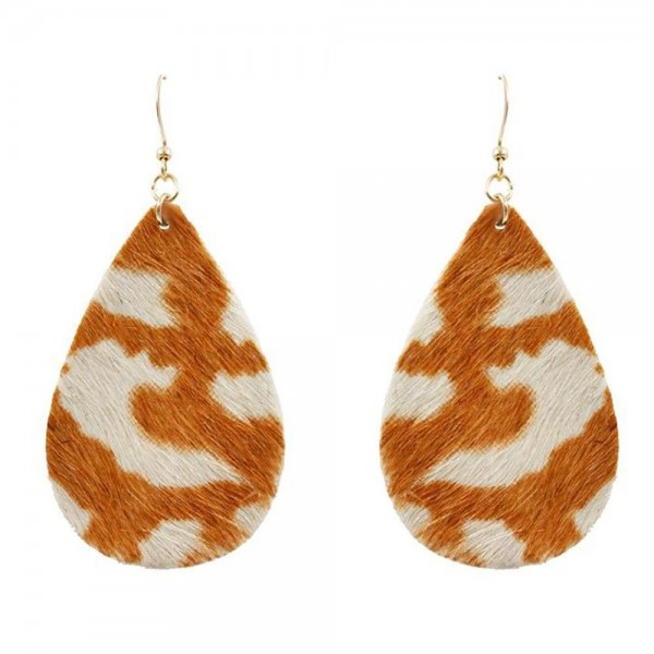 "Genuine Leather Animal Print Tear Drop Earrings.   - Genuine Leather  - Approximately 3"" in Length"