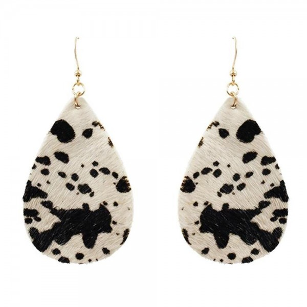 """Genuine Leather Animal Print Tear Drop Earrings.   - Genuine Leather  - Approximately 3"""" in Length"""