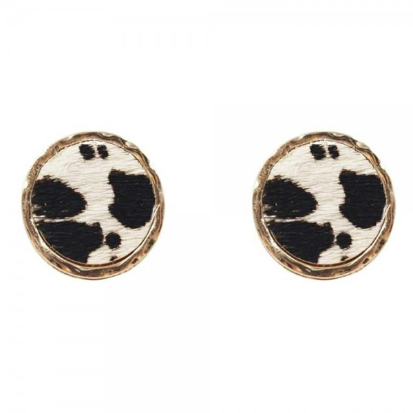 """Genuine Leather Cheetah Print Stud Earrings with Gold Details.   - Approximately 1"""" in Diameter"""