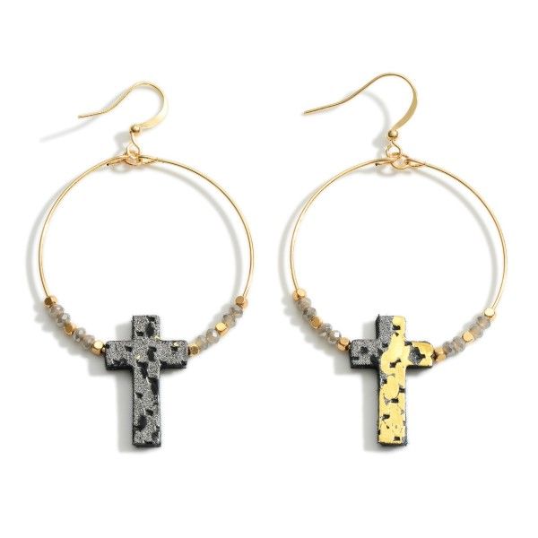 """Circular Cross Earrings Featuring Beaded Accents.   - Measures approximately 1.5"""" in diameter  - Approximately 1.5"""" in length  - Cross is approximately 1"""" in length"""