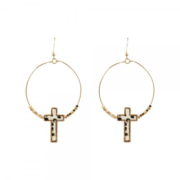 "Circular Cross Earrings Featuring Beaded Accents.   - Measures approximately 1.5"" in diameter  - Approximately 1.5"" in length  - Cross is approximately 1"" in length"