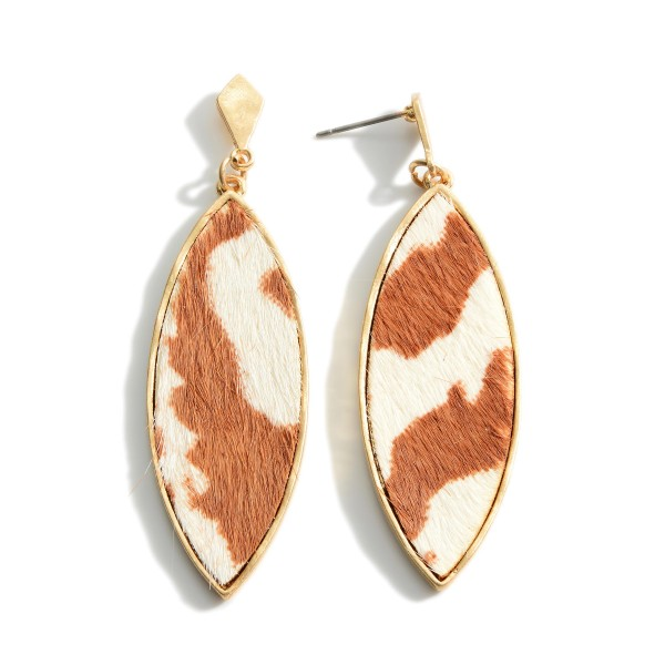 """Genuine Leather Animal Print Drop Earrings.   - Approximately 2.5"""" Long"""