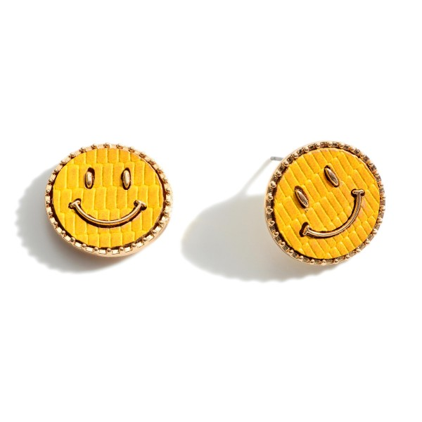 Leather Stud Earrings Featuring Smiley Face Design.   - Approximately 10mm in Diameter