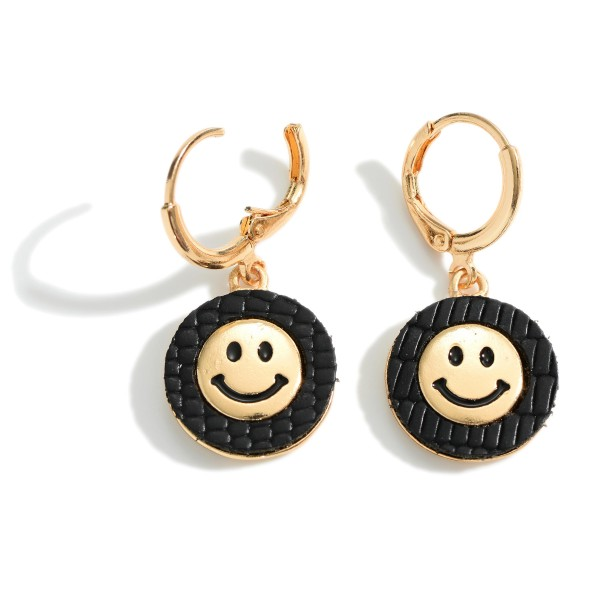 """Faux Leather Drop Earrings Featuring Gold Smiley Face Accents.   - Approximately 1.25"""" Long"""