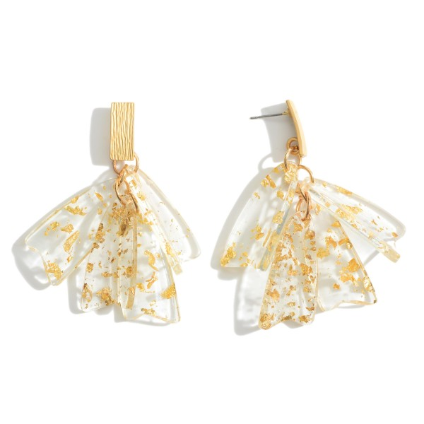 Wholesale gold Resin Tassel Drop Earrings
