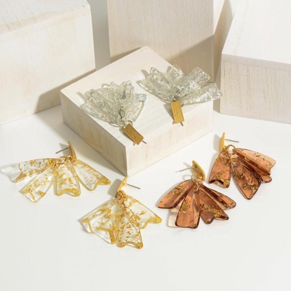 "Gold Resin Tassel Drop Earrings.   - Approximately 2"" in Length"