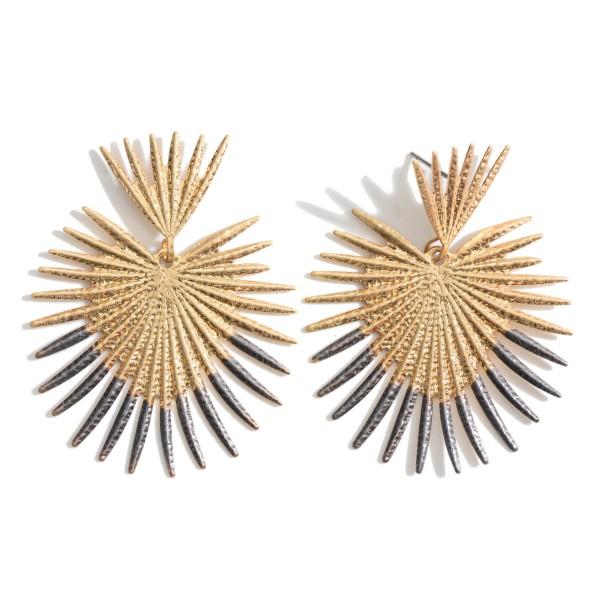 """Gold Heart Shaped Drop Earrings.   - Approximately 2"""" in Diameter"""