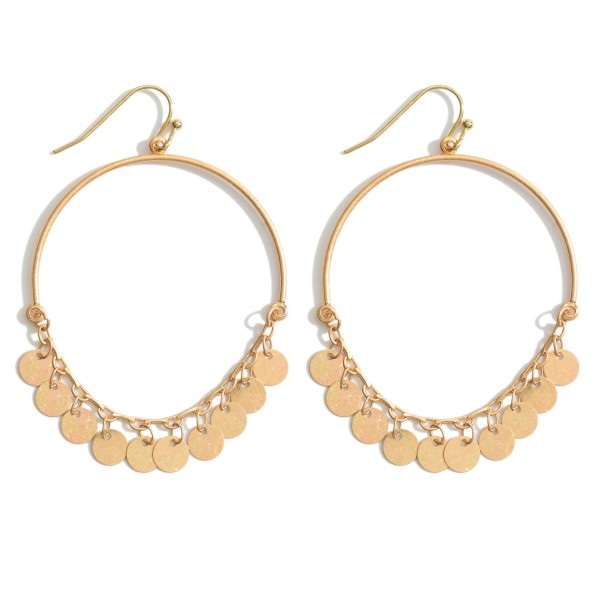 """Circular Drop Earrings Featuring Metal Bead Accents.   - Approximately 2.5"""" in Length"""