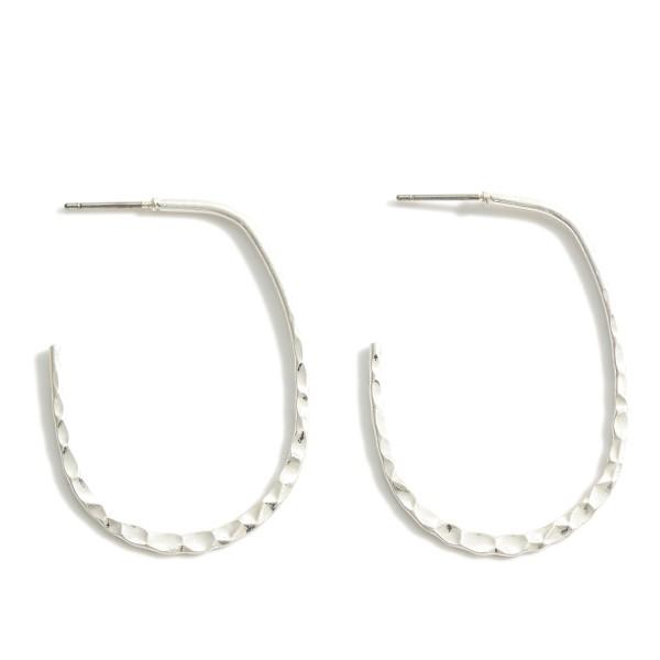 Wholesale oval Metal Earrings Hammered Details