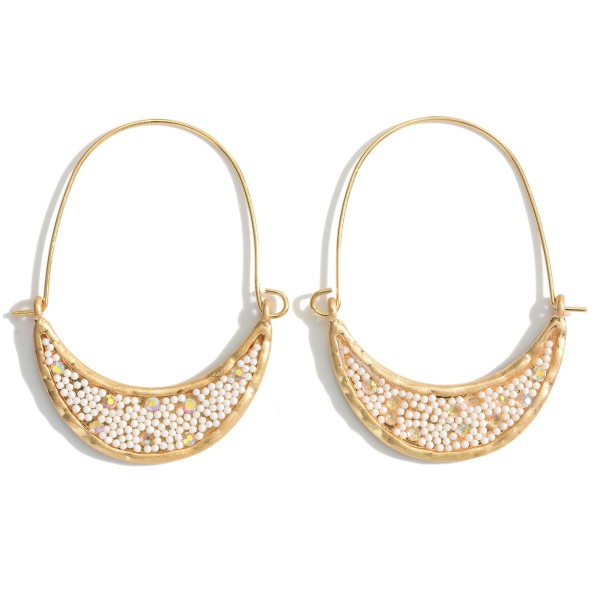 """Gold Threader Earrings Featuring Beaded and Cubic Zirconia Accents.   - Approximately 2"""" in Length"""