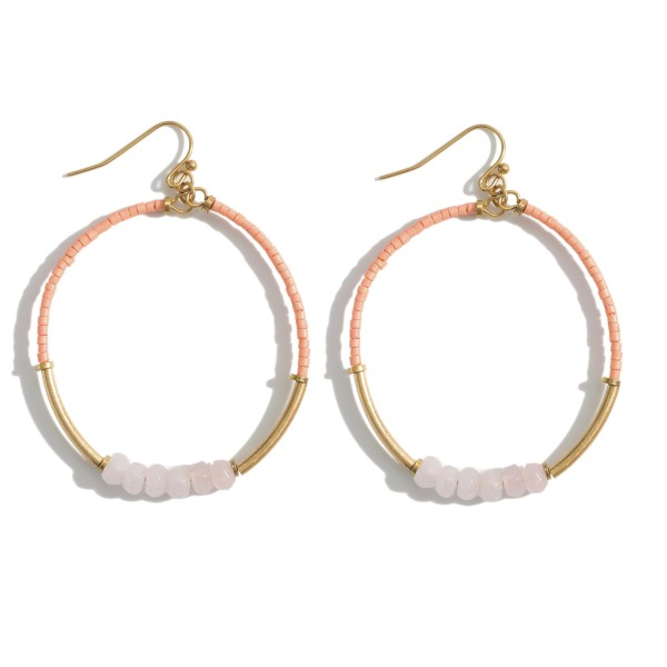 """Beaded Circular Drop Earrings Featuring Natural Stone Accents.   - Approximately 2"""" in Length"""