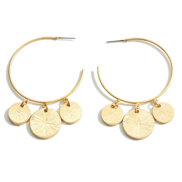 Wholesale metal Hoop Earrings Hammered Coin Pendant Accents