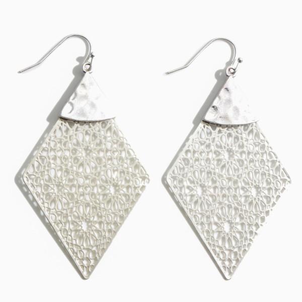 "Metal Filigree Drop Earrings.   - Approximately 3"" in Length"