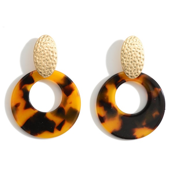 "Resin Door Knocker Earrings Featuring Hammered Gold Accents.   - Approximately 1.5"" in Length"
