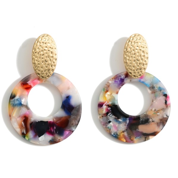 Wholesale resin Door Knocker Earrings Hammered Gold Accents