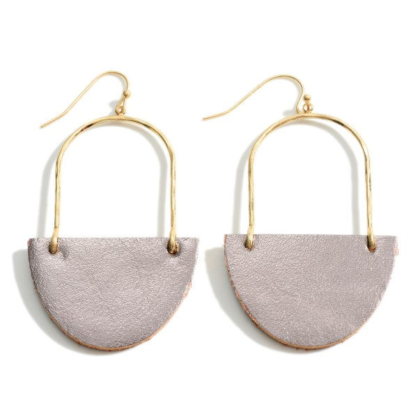 Wholesale gold Metal Drop Earrings Leather Accents Long