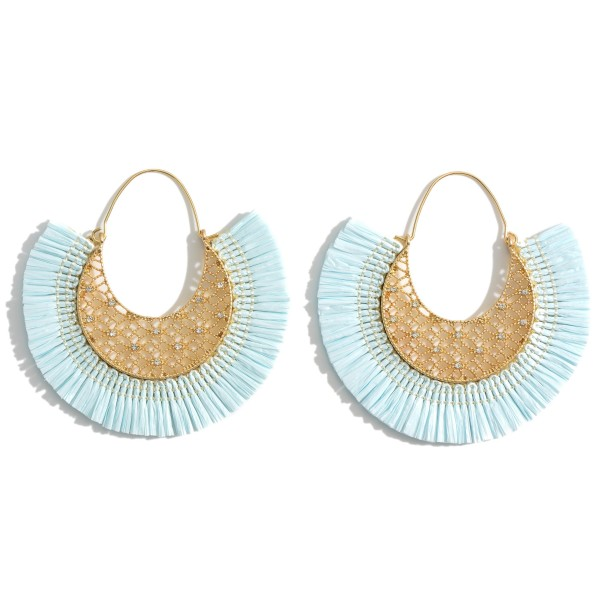 "Gold Threader Earrings Featuring Cubic Zirconia Details and Raffia Accents.   - Approximately 2.5"" in Diameter"
