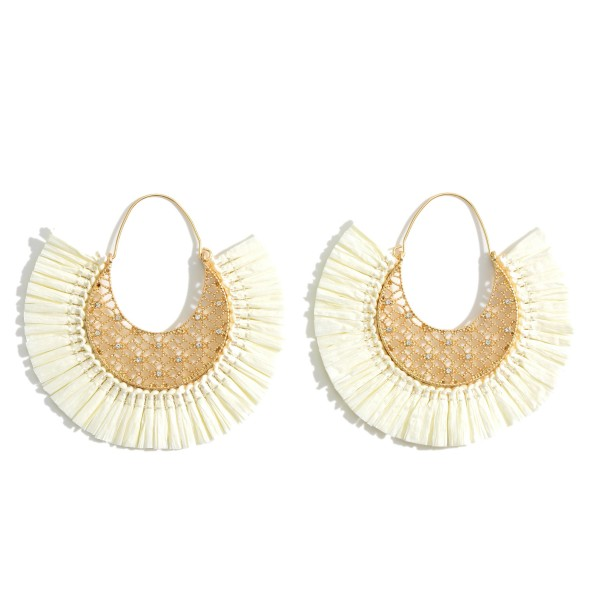 """Gold Threader Earrings Featuring Cubic Zirconia Details and Raffia Accents.   - Approximately 2.5"""" in Diameter"""