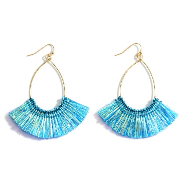 "Gold Drop Earrings Featuring Iridescent Tassel Accents.   - Approximately 2.5"" in Length"