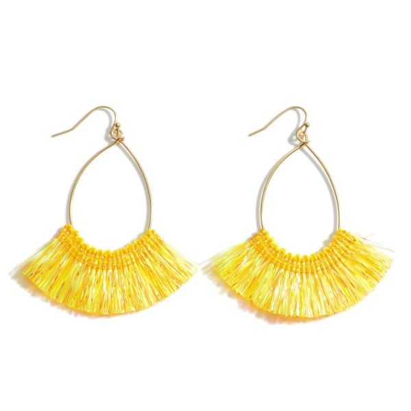 Wholesale gold Drop Earrings Iridescent Tassel Accents