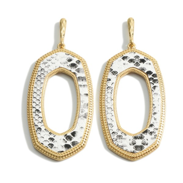 "Oval Shaped Drop Earrings.   - Approximately 2.5"" Long"