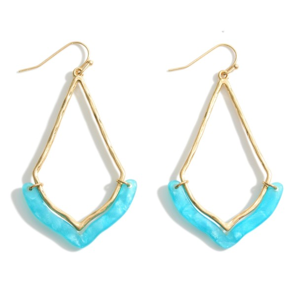 "Gold Teardrop Earrings Featuring Resin Accents.   - Approximately 2.5"" in Length"