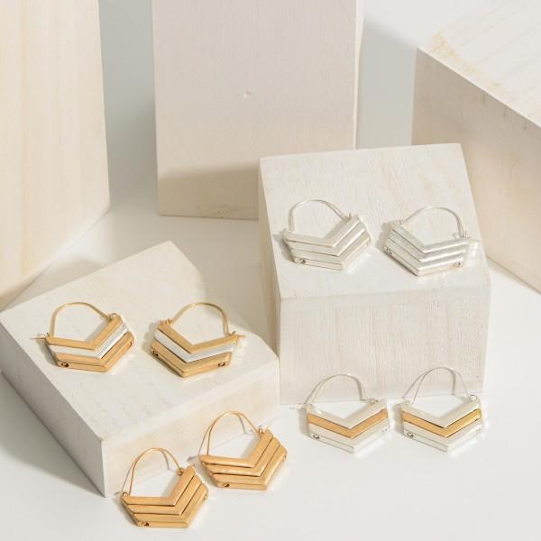 "Chevron Shaped Matte Metal Threader Earrings.   - Approximately 1.5"" in Length"
