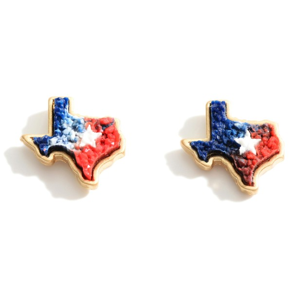 "Texas Shaped Druzy Stud Earrings.   - Approximately 1/2"" in Diameter"