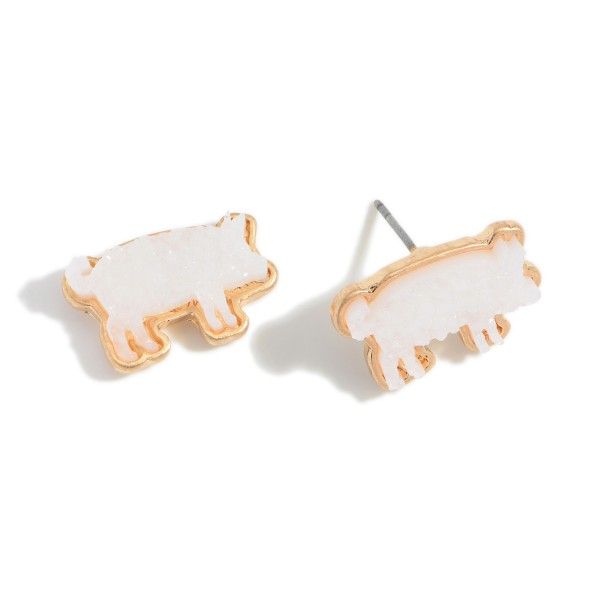 """Pig-Shaped Druzy Stud Earrings.   - Approximately 18"""" Long"""