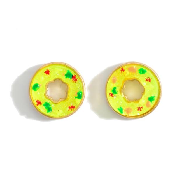 """Doughnut Themed Stud Earrings.   - Approximately 1/2"""" in Diameter"""